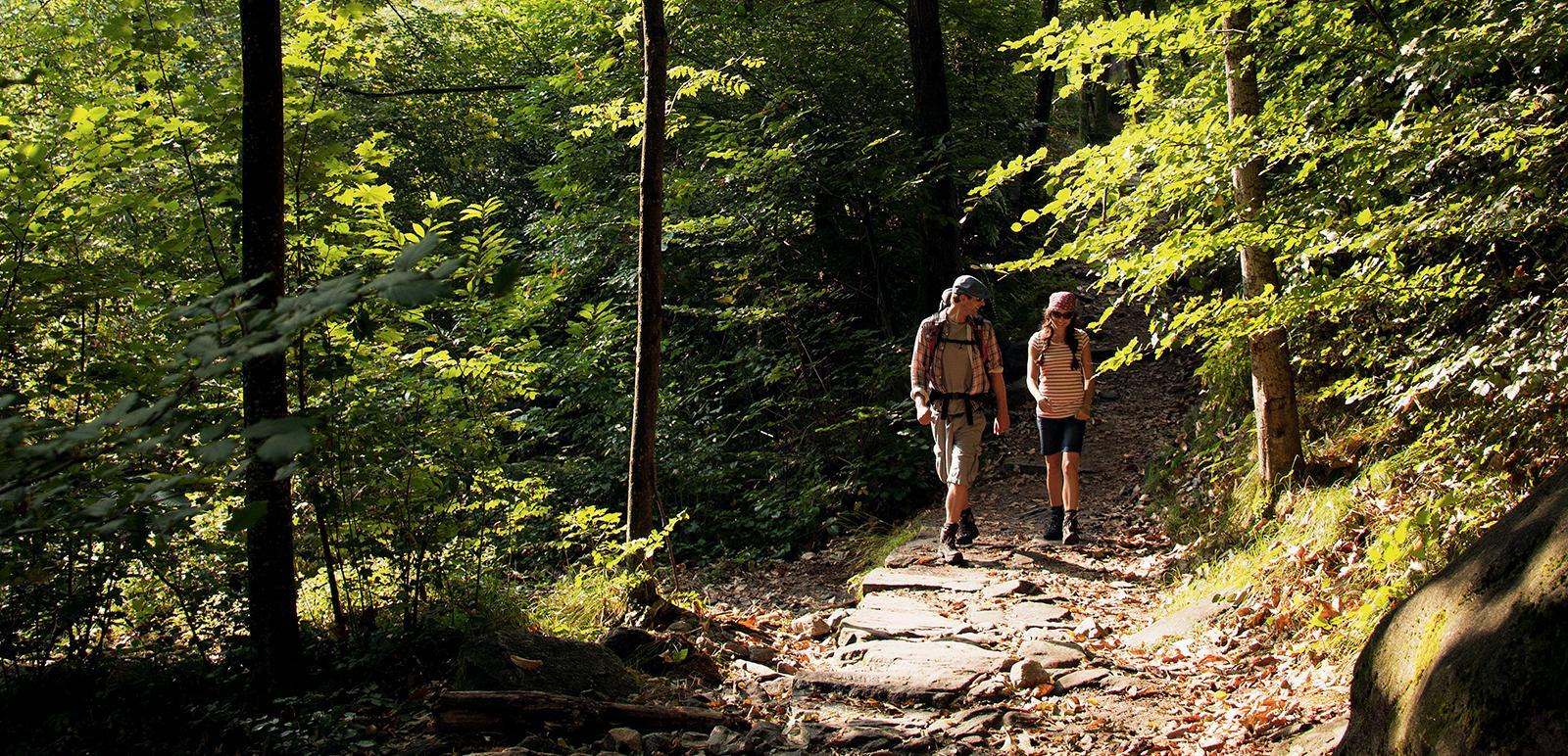Zwei Wanderer unterwegs im Verzascatal