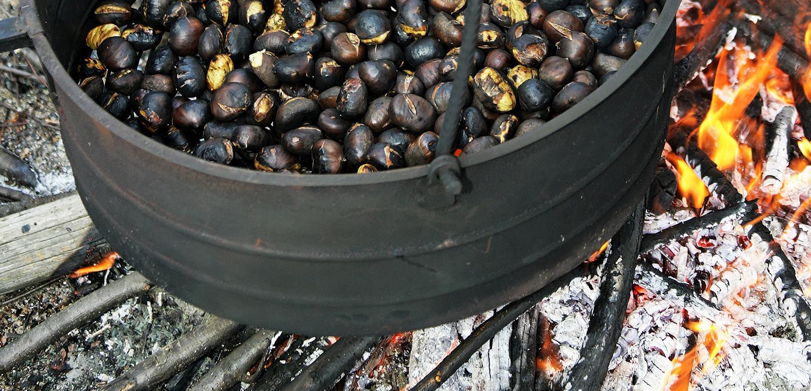 Kastanien oder besser Marroni über dem Feuer geröstet